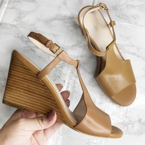 New Cole Haan Slingback Leather Open Toe Wedges
